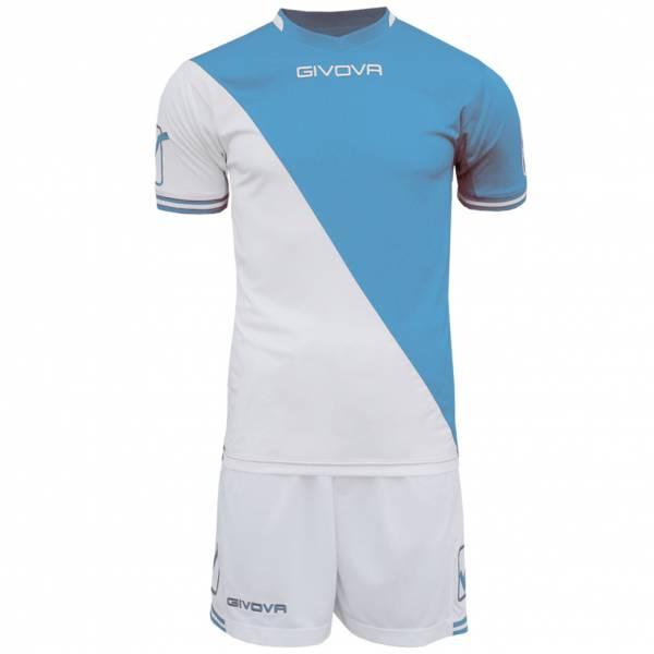 Givova Fußball Set Trikot mit Short Kit Craft weiß/hellblau