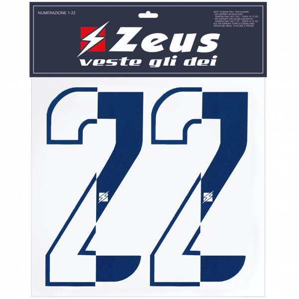 Zeus numeri - Set 1-22 per stirare su metà blu scuro di 10 cm