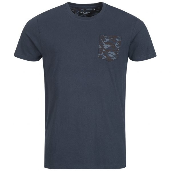 BRAVE SOUL Pulp Camo Herren Pocket T-Shirt MTS-149PULPF Navy