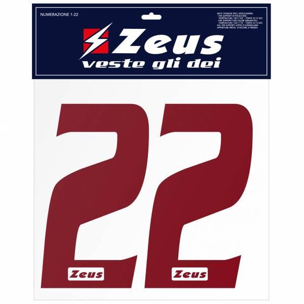 Zeus Nummern-Set 1-22 zum Aufbügeln 25cm Senior dunkelrot