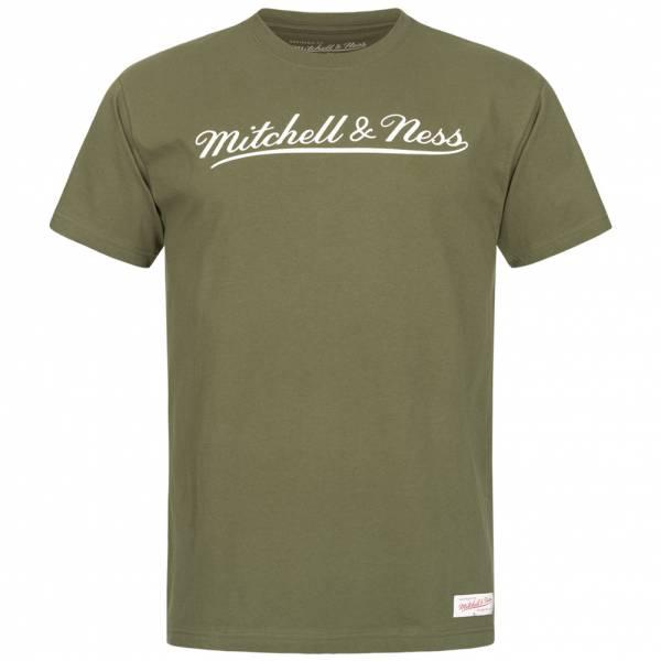 Mitchell & Ness Script Men T-shirt MN-BRA-SCRPTLOGOTRAD-OLIWHT