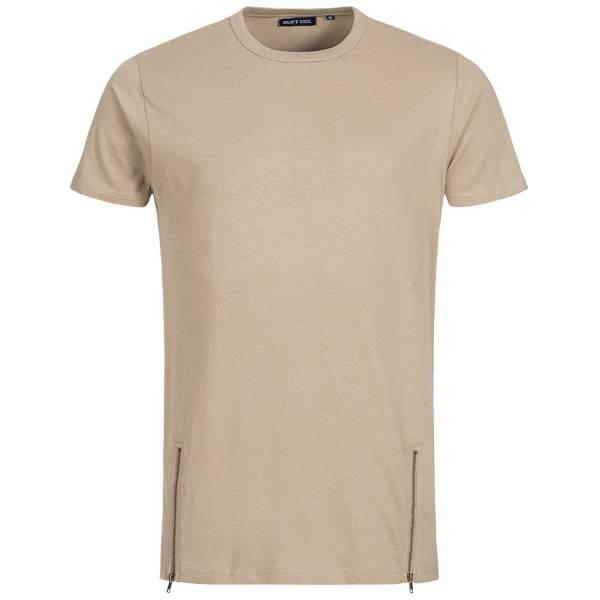BRAVE SOUL Falcon Herren Double Zip Crew Neck T-Shirt MTS-36FALCONI Stone