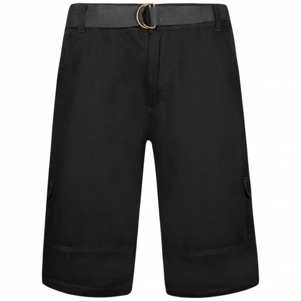 Juno Herren Cargo Shorts mit Gürtel Ripstop 1G11623 Black