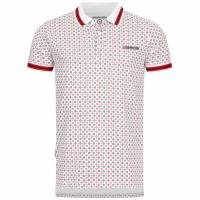 Lambretta Geometric Allover Print Herren Polo-Shirt SS7164-WHITE