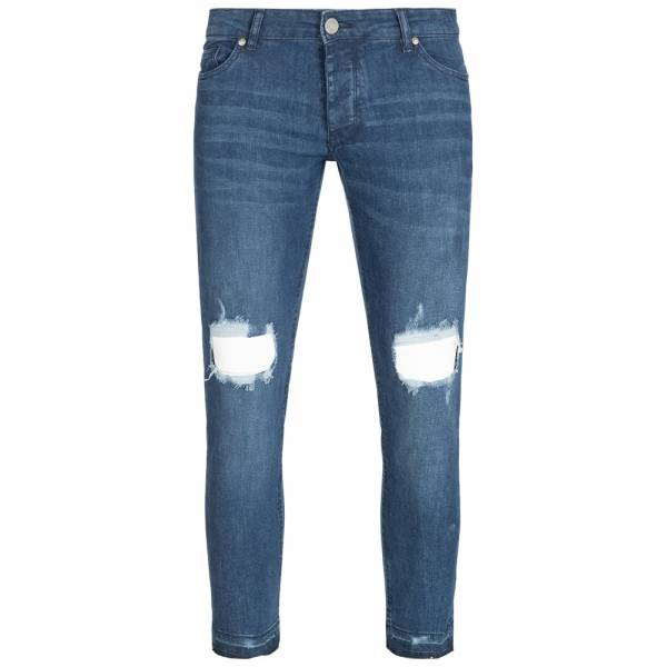 BRAVE SOUL Drogba Blue Denim Ripped Knee Skinny Heren Jeans MJN-DROGBA