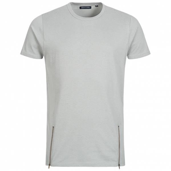 BRAVE SOUL Falcon Herren Double Zip Crew Neck T-Shirt MTS-36FALCONI Grey