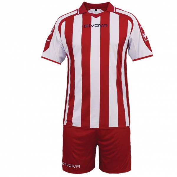 Givova Fußball Set Trikot mit Short Supporter rot/weiß