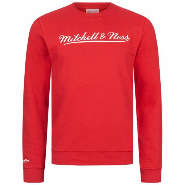Mitchell & Ness Script Crew Mężczyźni Bluza MN-BRA-SCRPTLOGOCREW-REDWHT