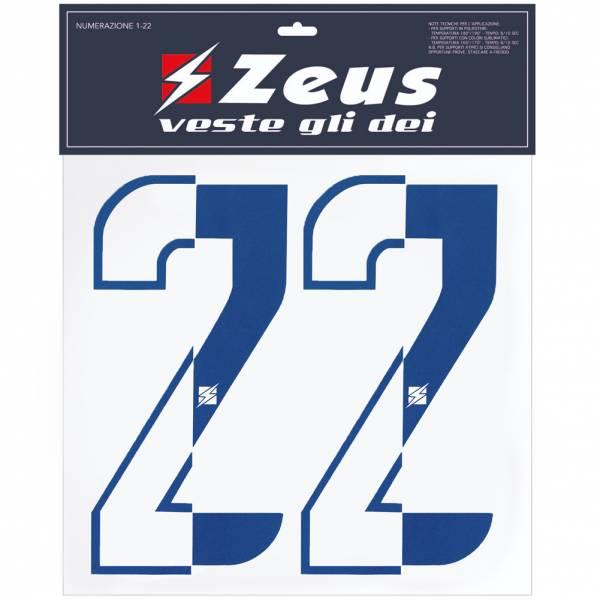 Zeus Kit de transfert des numéros de 1 à 22 Demi 10cm royal blue