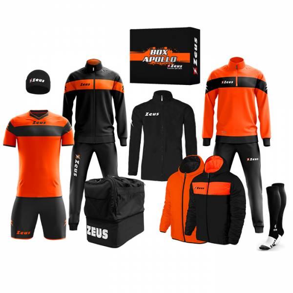 Zeus Apollo Conjunto de fútbol Caja con equipación de 12 piezas Negro Neón Naranja