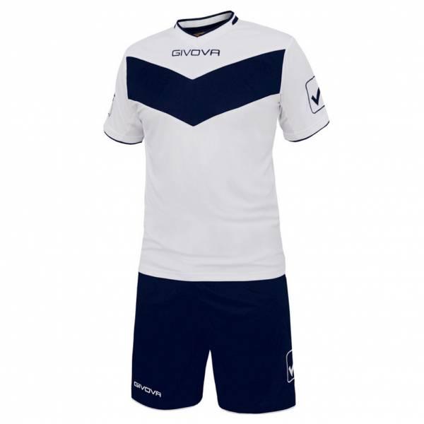 Givova Fußball Set Trikot mit Shorts Vittoria weiß/navy