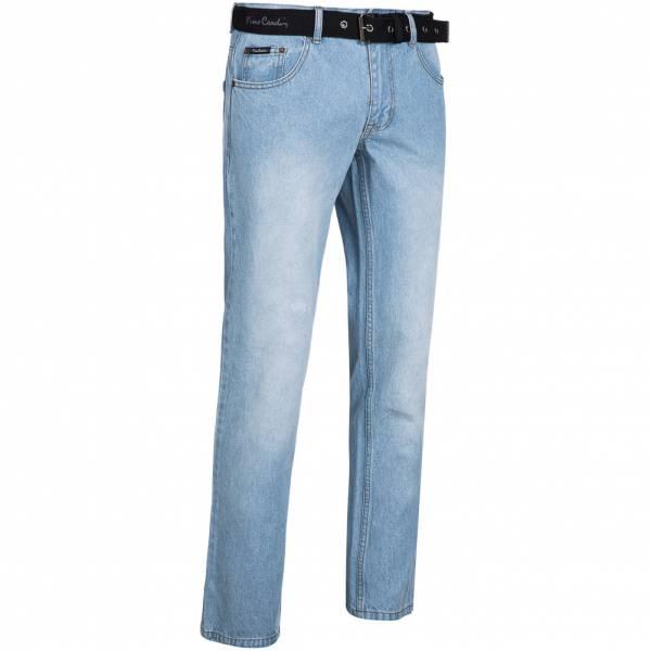 Pierre Cardin Herren Jeans Straight Leg mit Gürtel hellblau