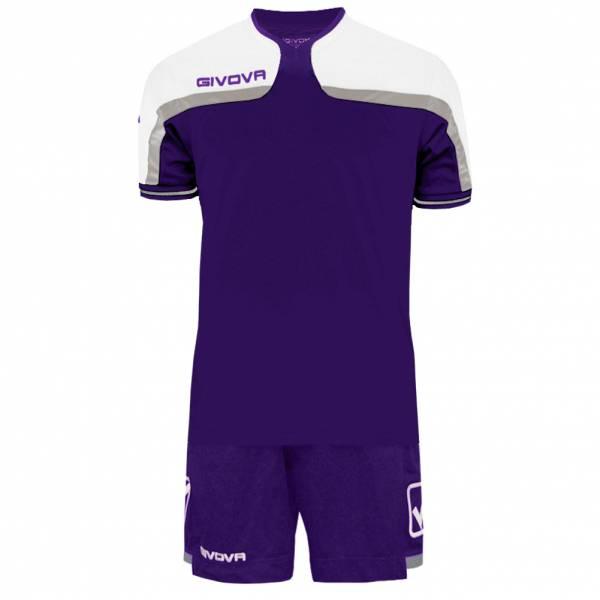 Givova Fußball Set Trikot mit Short Kit America lila/weiß