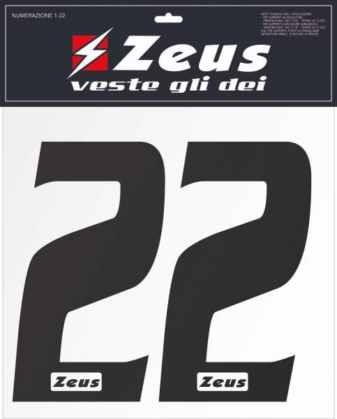 Zeus Kit de transfert des numéros de 1 à 22 25cm senior noir