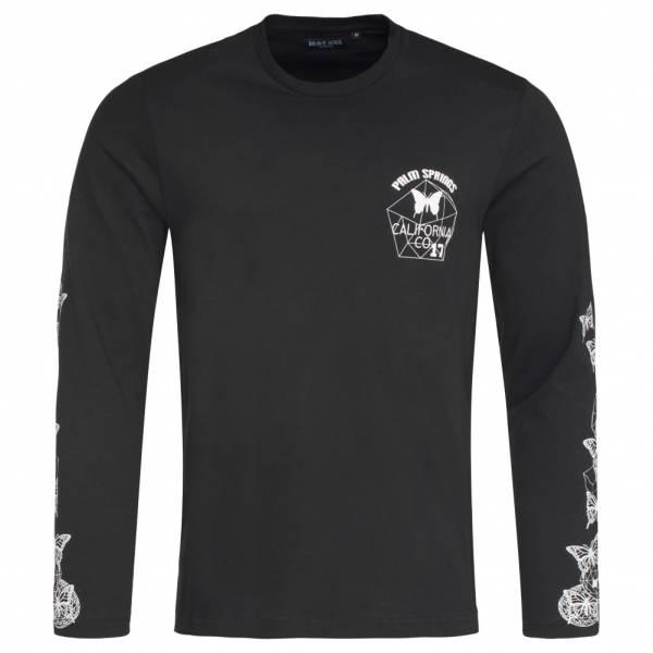 ANELLO BRAVE T-Shirt manica lunga da uomo a maniche lunghe con stampa a contrasto MLT-69BUTTERFLY nera