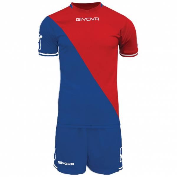 Givova Craft Ensemble de foot Maillot avec Short Kit bleu / rouge