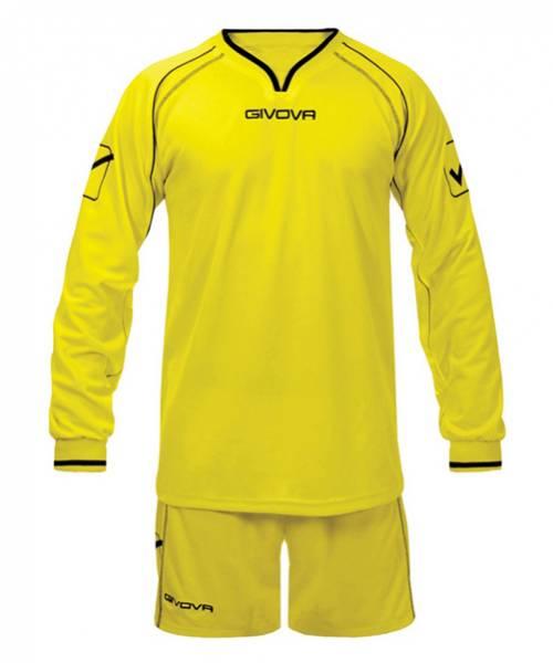 Givova Calcio Set Maglietta a maniche lunghe con Shorts leader giallo