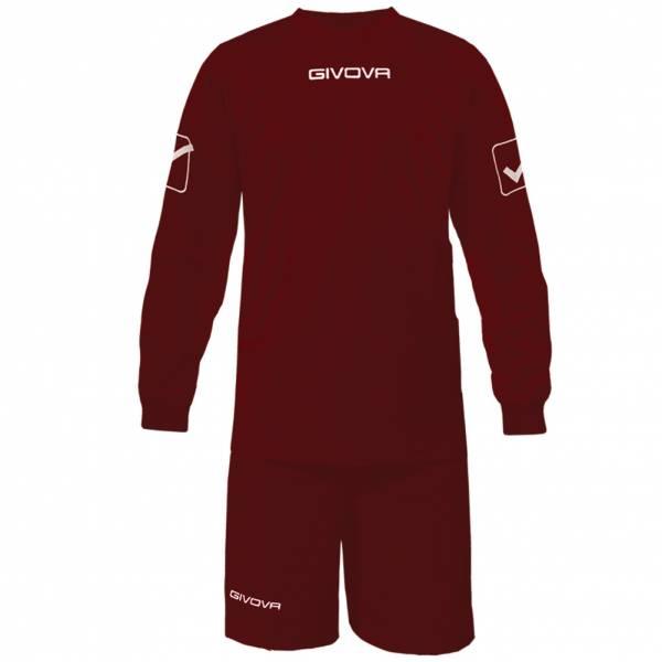 Givova Fußball Set Langarmtrikot mit Short Kit Givova dunkelrot