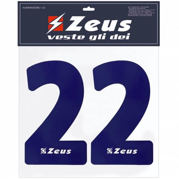 Zeus Números termoadhesivos 1-22 25cm azul marino senior