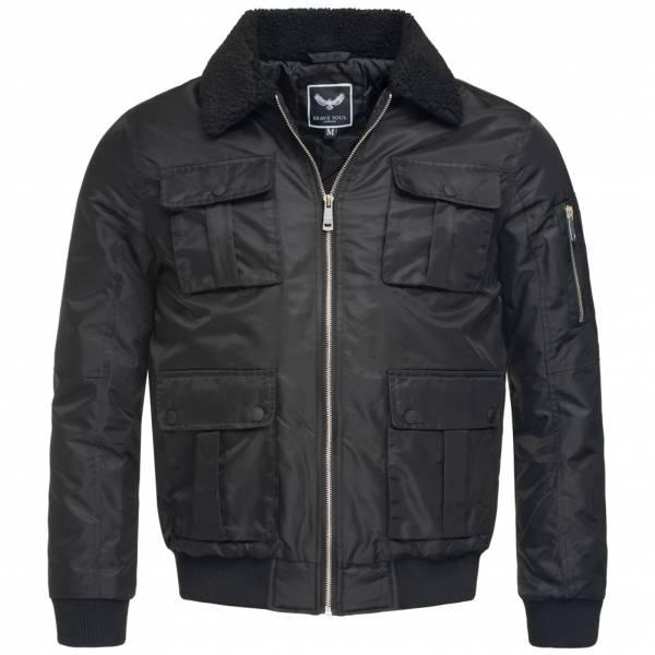 BRAVE SOUL County Contrast Borg Collar Herren Jacke MJK-COUNTY Black