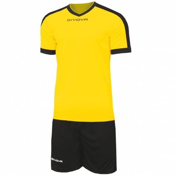 Givova Kit Revolution Maglietta da calcio con Shorts giallo nero