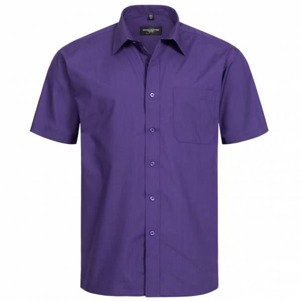 RUSSELL Short Sleeve Poly-Cotton Poplin Herren Hemd 0R935M0-Purple