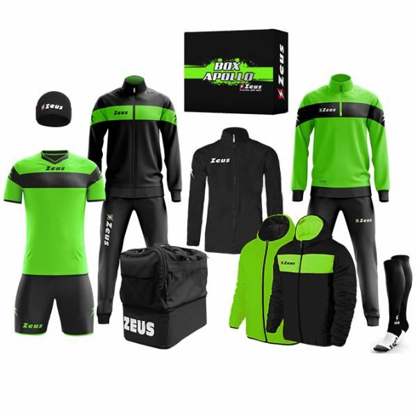 Zeus Apollo Voetbaltenue Teamkleding box 12-delig Neon groen zwart