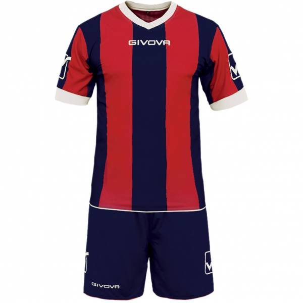 Givova Ensemble de foot Maillot avec Short Kit Catalano marine / rouge