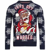 BRAVE SOUL Wasted X-Mas Weihnachts Pullover MK-230WASTED NAVY