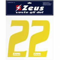 Zeus Nummern-Set 1-22 zum Aufbügeln 10cm gelb