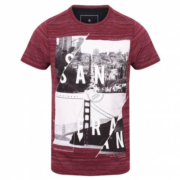 DNM Dissident San Fran Split Herren T-Shirt 1C10654 Oxblood