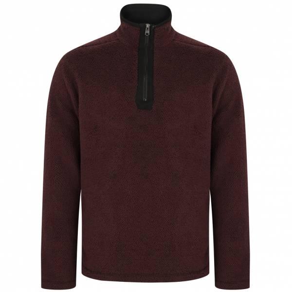 Kensington Micro Herren 1/4 Zip Fleece Sweatshirt 1D11403 Oxblood/Black