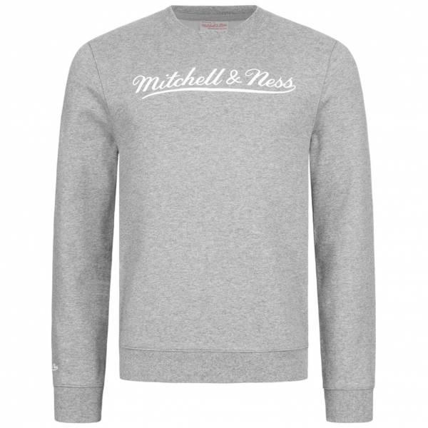 Mitchell & Ness Script Crew Herren Sweatshirt MN-BRA-SCRPTLOGOCREW-GRYWHT