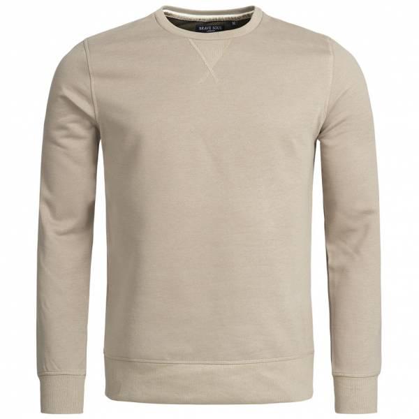 BRAVE SOUL Jones Plain Rib Detail Herren Sweatshirt MSS-69JONESS Stone