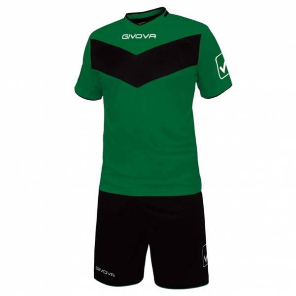 Givova Fußball Set Trikot mit Short Vittoria grün/schwarz