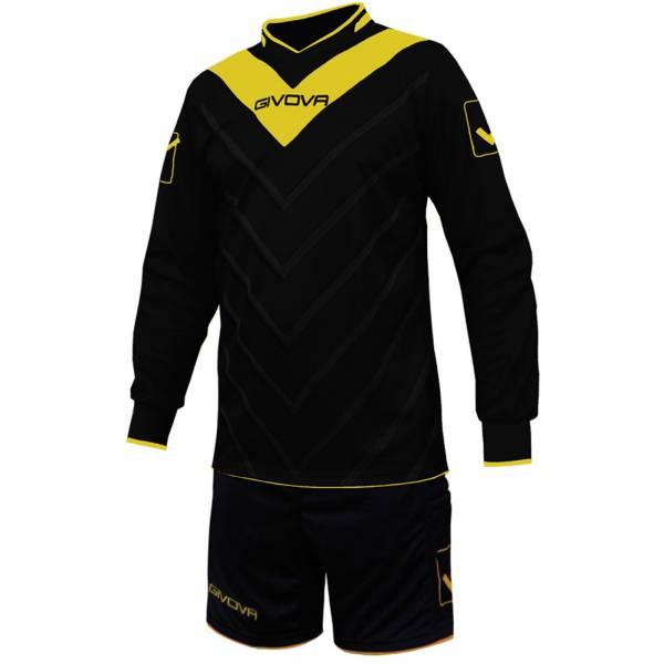 Givova Fußball Set Torwatrikot mit Short Kit Sanchez schwarz/gelb