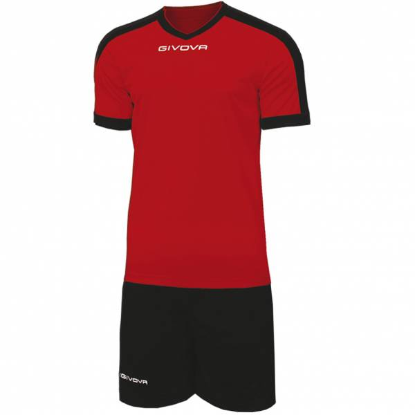 Givova Kit Revolution Fußball Trikot mit Short rot schwarz