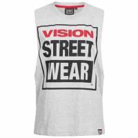 Damska koszulka bez rękawów z wycięciem pod szyją Vision Street Wear CL3101 szary marl