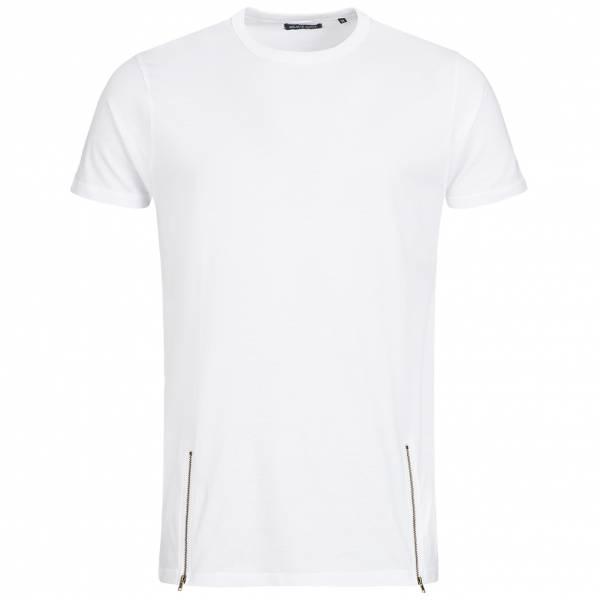BRAVE SOUL Falcon Herren Double Zip Crew Neck T-Shirt MTS-36FALCONG White