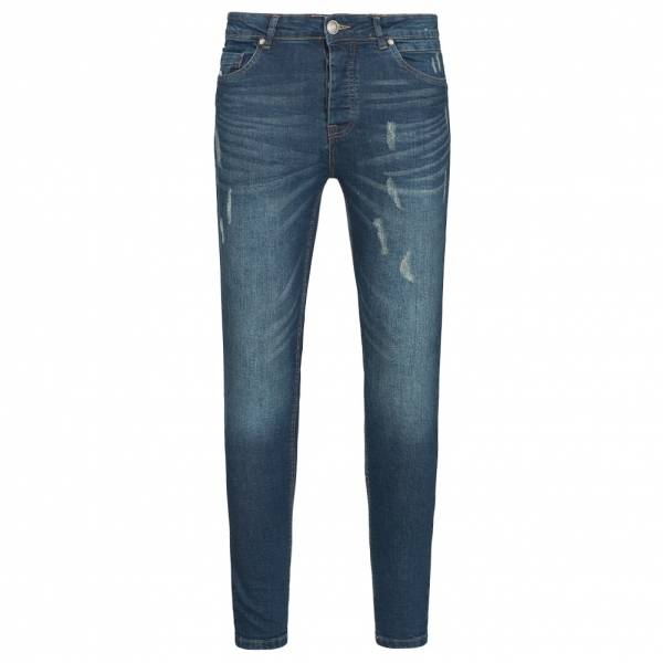 BRAVE SOUL Distressed Look Abrasion Detail Skinny Herren Jeans MJN-CHALK