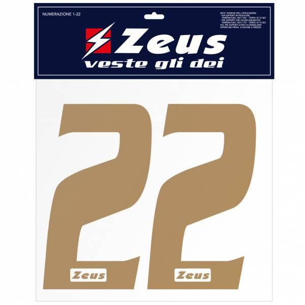 Zeus Nummern-Set 1-22 zum Aufbügeln 10cm gold