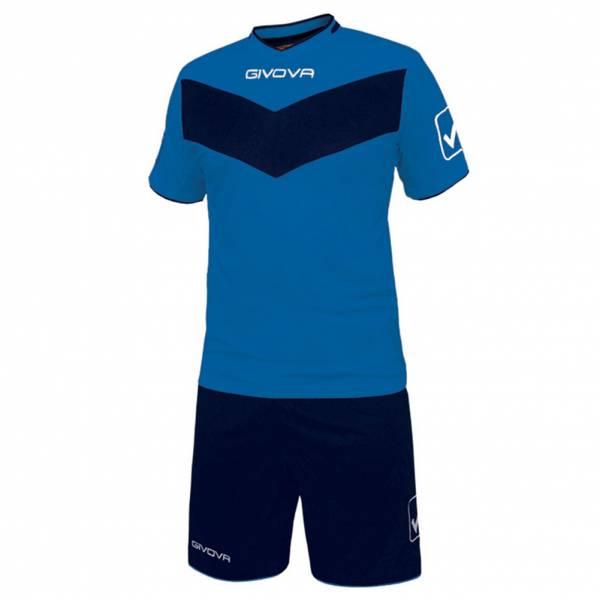 Givova Fußball Set Trikot mit Short Vittoria blau/navy