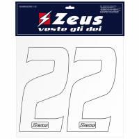 Zeus Nummern-Set 1-22 zum Aufbügeln 10cm weiß