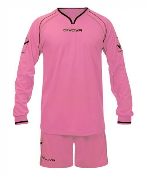 Givova Fußball Set Langarm Trikot mit Short Leader rosa