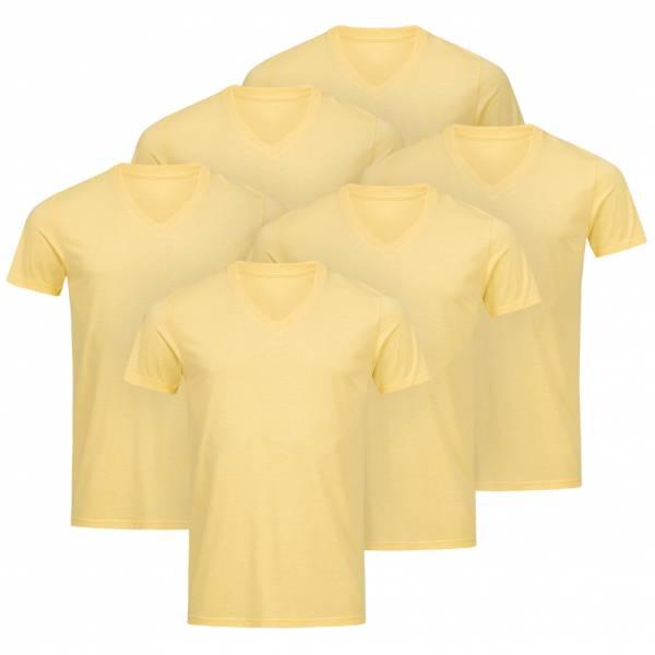 RUSSELL V-Neck Tee 6er-Pack Herren T-Shirt 0R166M0-Yellow-Marl
