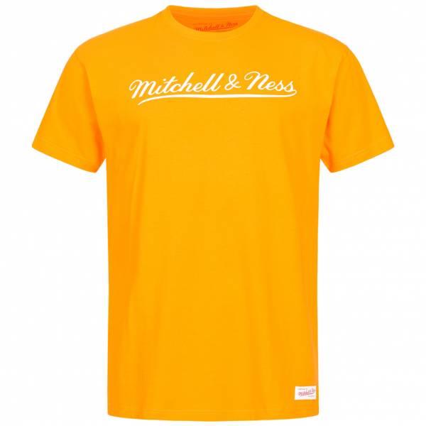 Mitchell & Ness Script Hommes T-shirt MN-BRA-SCRPTLOGOTRAD-GLDWHT