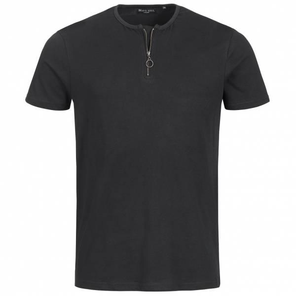BRAVE SOUL Russell Herren Zip Neck T-Shirt MTS-69RUSSELL Jet Black