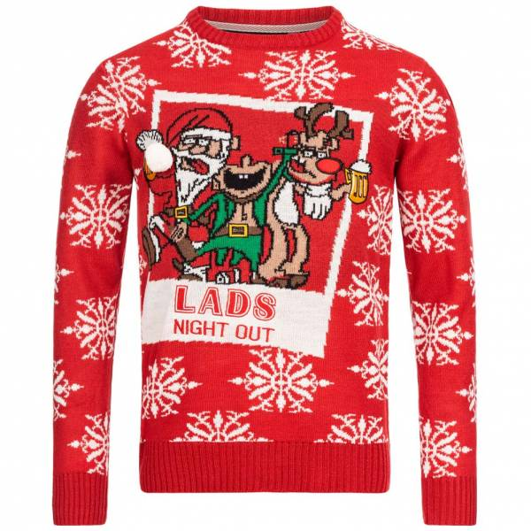 BRAVE SOUL Wasted X-Mas Weihnachts Pullover MK-230WASTED RED