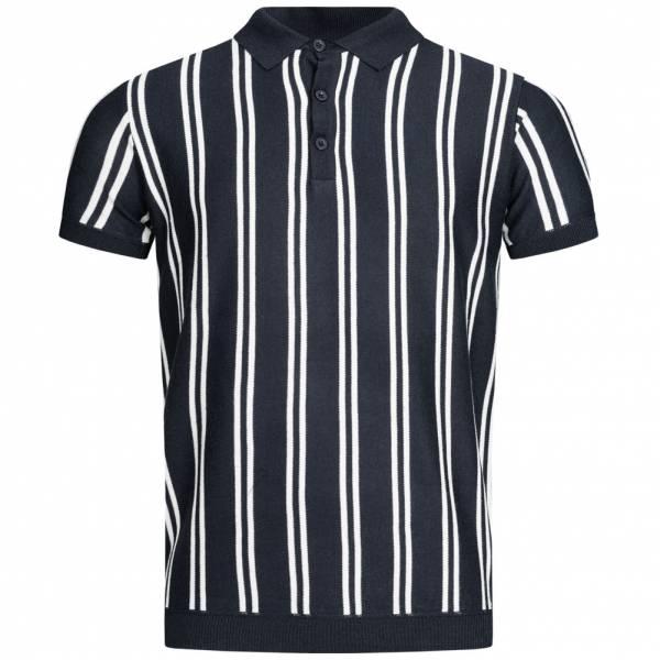 BRAVE SOUL Keaton Knit Stripe Herren Polo-Shirt MK-517KEATON DK NAVY