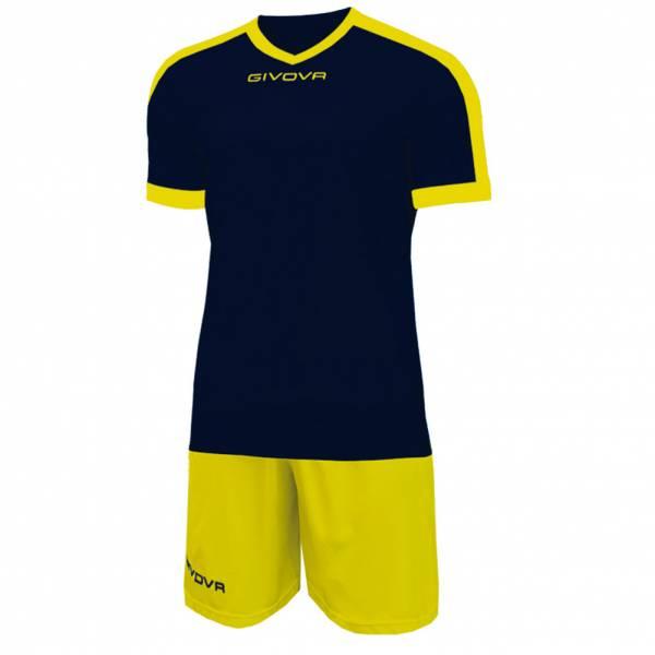 Givova Kit Revolution Fußball Trikot mit Shorts navy gelb